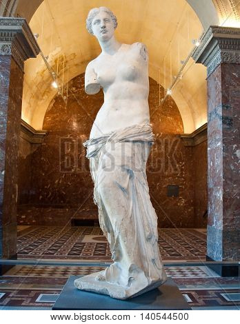 PARIS FRANCE-AUGUST 16: Aphrodite of Milos at the Louvre Museum on August 162009 in Paris France.