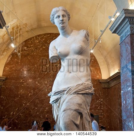 PARIS FRANCE-AUGUST 16: Venus de Milo at the Louvre Museum on August 16 2009 in Paris France.