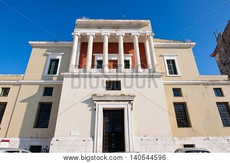 Facade of the Venetian building with Ionic columns in Corfu townKorkyra. Greece.