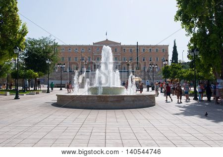 ATHENS-AUGUST 22: Syntagma Square and Parliament building on August 22 2014 in Athens Greece.