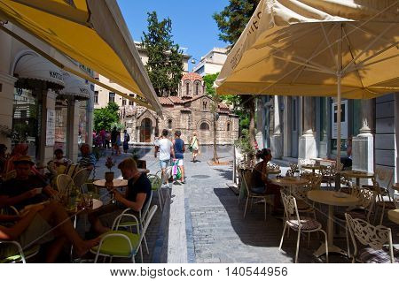 ATHENS-AUGUST 22: Traditional Greek bistro displayed for sale in Plaka area on August 22 2014 in Athens Greece. Pláka is the old neighbourhood of Athens clustered around the slopes of Acropolis.