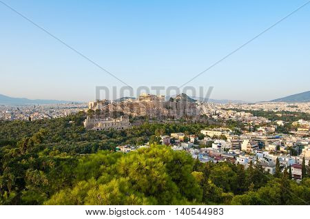 Panorama of Acropolis and Athens city below from Filopappos Hill.
