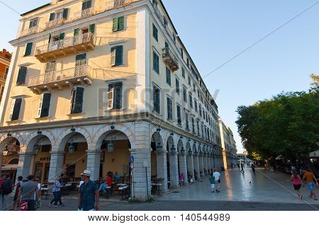 CORFU-AUGUST 27: The Liston of Corfu in Kerkyra city with the row of local restaurants on August 27 2014 on Corfu island Greece.