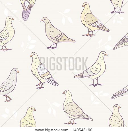 Seamless pattern of cartoon pigeons. Vector illustration