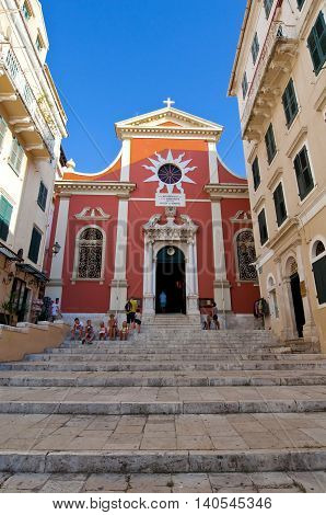 CORFU-AUGUST 22: The Metropolitan Church of Kerkyra on August 22 2014 on the island of Corfu in Greece. Inside the church the relics of St. Theodora are kept in a silver shrine.