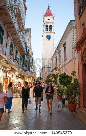 CORFU-AUGUST 24: The Saint Spyridon Church bell tower on August 242014 on Corfu island Greece. The Saint Spyridon Church is a Greek Orthodox church located in Corfu Greece.