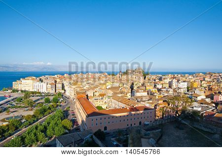 CORFU-AUGUST 22: Corfu cityscape from the New Fortress on August 22 2014 on Corfu island Greece.