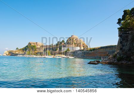 View of the Old Fortress of Corfu in the midday Greece.