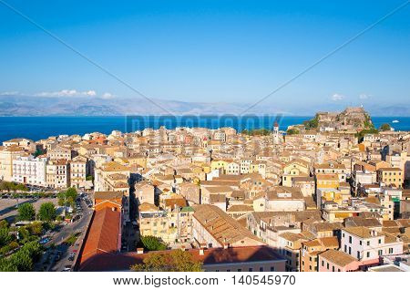 CORFU-AUGUST 22: Panoramic view of Corfu city from the New Fortress built on the hill of St. Mark on August 22 2014 on Corfu island Greece.