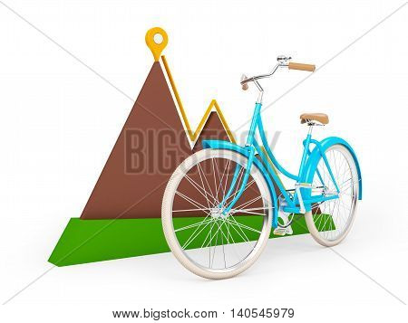 bicycle with sign of map pointer and mountain isolation on white. 3d illustration.