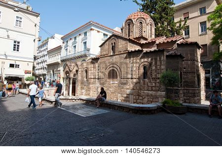 ATHENS-AUGUST 22: Church of Panaghia Kapnikarea on August 222014 in Athens Greece. The Church of Panaghia Kapnikarea is a Greek Orthodox church and one of the oldest churches in Athens.