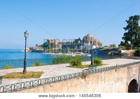 The Old Fortress of Corfu seen from the shore. Corfu island Greece.