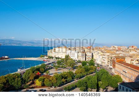CORFU-AUGUST 22: Aerial view of Corfu city from the New Fortress on August 22 2014 on Corfu island Greece.
