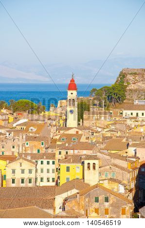CORFU-AUGUST 22: Panoramic view of Corfu city and the bell tower of the Saint Spyridon Church from the New Fortress on August 22 2014 on Corfu island Greece.