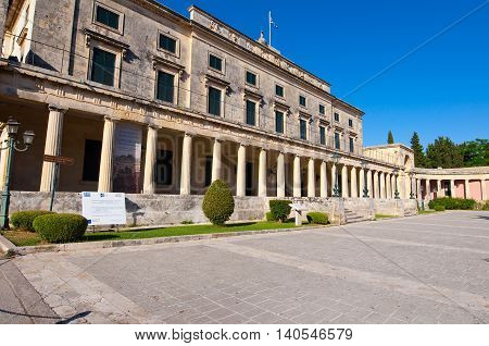 CORFU-AUGUST 22: Facade of the Palace of St. Michael and St. George in Corfu City on August 22 2014 on Corfu island Greece.