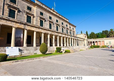 CORFU-AUGUST 22: Facade of the Palace of St. Michael and St. George on August 22 2014 on Corfu island in Greece.