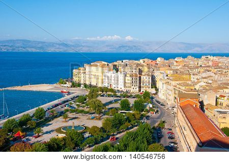 CORFU-AUGUST 22: Panoramic view of Corfu cityscape seen from the New Fortress on August 22 2014 on Corfu island Greece.