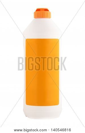 Empty bottle procurement for detergent or shampoo with an orange cover and a label isolated on a white background