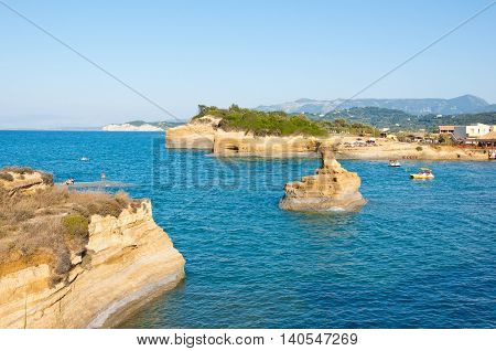 CORFU-AUGUST 26: Sidary landscape with the soft rock erosion on August 262014 on the Corfu island Greece. Sidari is a tourist resort at the North coast of Corfu island.