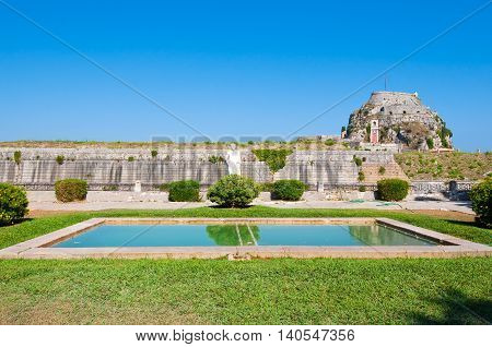 The hill of Castel a Terra is visible in the Old Fortress. Corfu island Greece.