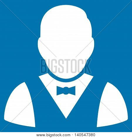Waiter icon. Vector style is flat iconic symbol with rounded angles, white color, blue background.