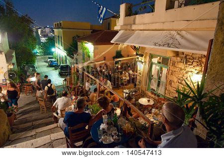 ATHENS-AUGUST 22: Street with various restaurants and bars on Plaka area on August 22 2014 in Athens