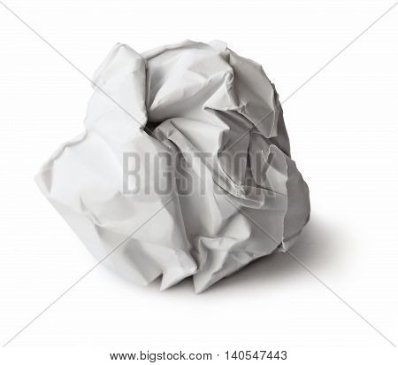 Paper wad, isolated on white background with copy space