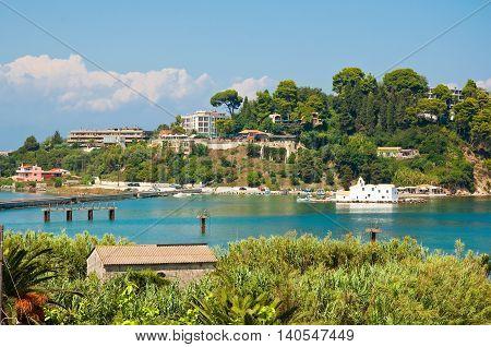 The hilltops of Kanoni on Corfu island Greece.