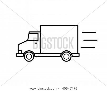 Delivery Van Doodle Line Art. A hand drawn vector illustration of a delivery van.