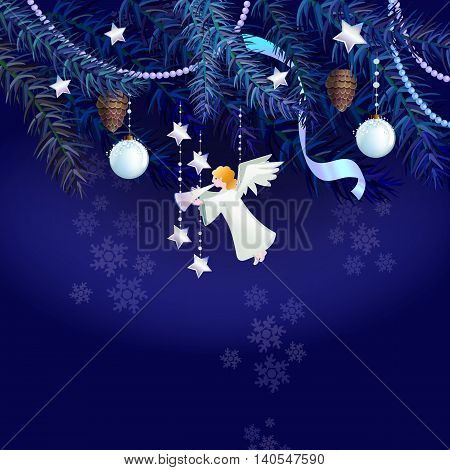 Vector illustration with Christmas angel and branches of pine. On the branch hang white new year balls.