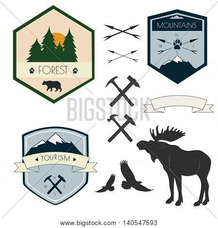 Vector set of camping labels in vintage style. Design elements, icons, logo, emblems and badges isolated on white background.