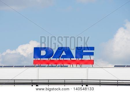 VILNIUS - JULY 30: DAF sign on July 30, 2016 in Vilnius, Lithuania. DAF Trucks NV is a Dutch truck manufacturing company and a division of PACCAR, (Pacific Car and Foundry Company).