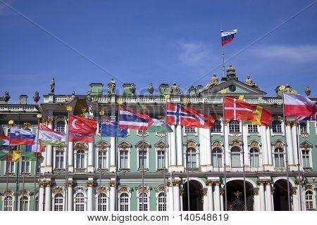 Hermitage museum in historical city center of Saint-Petersburg Russia in summer. Popular touristic landmark.