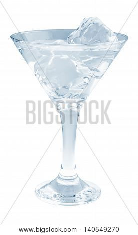 Delicious Cocktail With Ice Cubes In Martini Glass On A White Background.