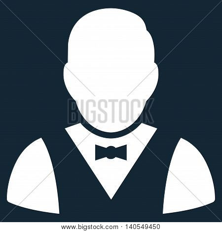 Waiter icon. Vector style is flat iconic symbol with rounded angles, white color, dark blue background.