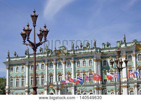 Hermitage museum in historical city center of Saint-Petersburg Russia in summer. Popular touristic landmark. UNESCO World Heritage Site
