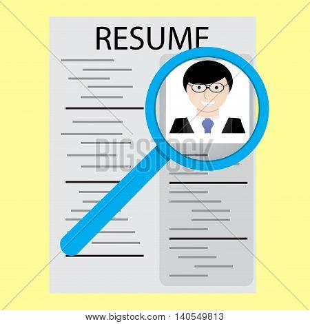 Analysis resume concept. Cv for business information about a job candidate. Vector illustration