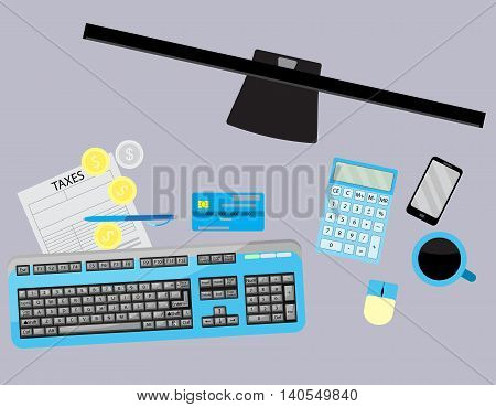 Day of payment of tax. Workspace with coffee and calculator tax declarations and money. Vector illustration