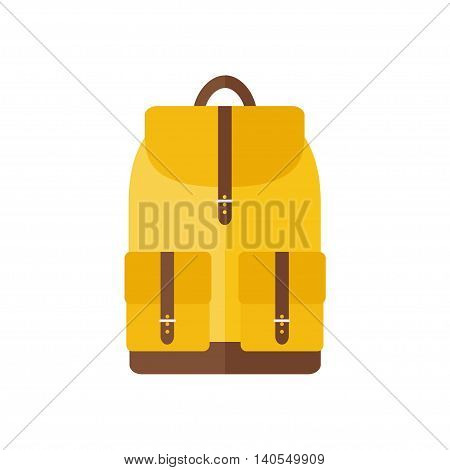 Backpack isolated icon on white background. Backpack for school, sports, camping, traveling. Flat style vector illustration.