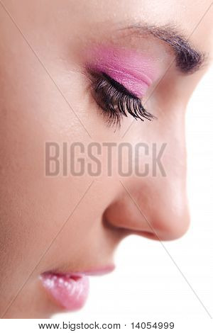Close Up Profile Of Woman