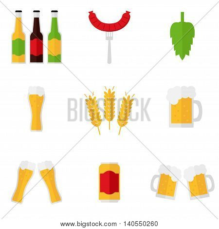 Beer icons isolated on white background. Beer glass, mug, bottle, can, malt, hop, sausage, clatter of glasses, clatter of mugs. Flat style vector illustration.