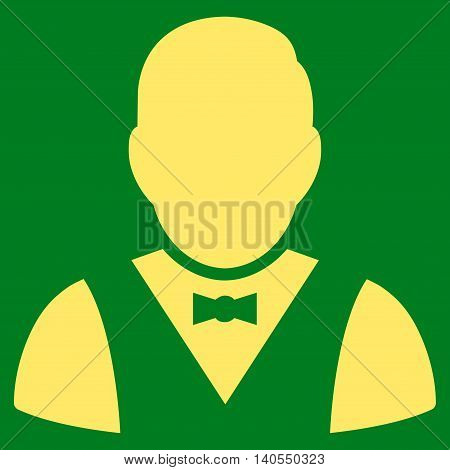 Waiter icon. Vector style is flat iconic symbol with rounded angles, yellow color, green background.
