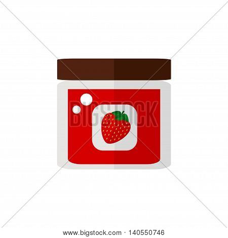 Jam isolated icon on white background. Strawberry jam in a jar. Food for breakfast. Flat style vector illustration.