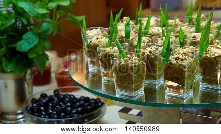Set of tasty canape for an event party.