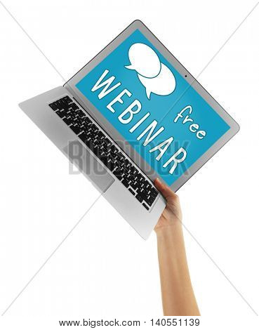 Modern laptop in hands isolated on white background. Webinar concept