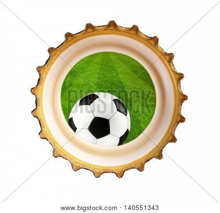 Beer bottle cap with football ball symbol, isolated on white