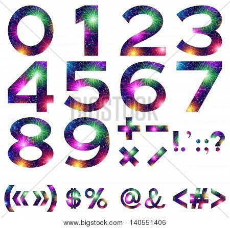 Mathematical sign, number zero, stylized colorful holiday firework with stars and flares, element for web design.