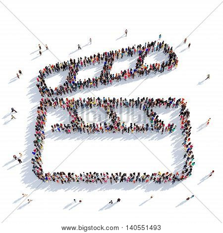Large and creative group of people gathered together in the form of clapperboard , cinema. 3D illustration, isolated against a white background. 3D-rendering.