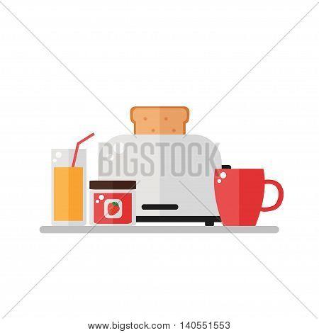 Breakfast image on white background. Breakfast food. Toaster with toast bread, orange juice, fruit jam, cup of coffee. Flat style vector illustration.