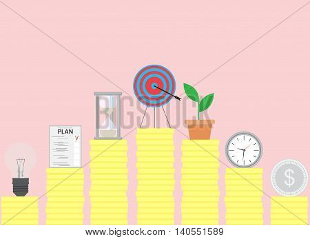 Steps to achieve the goal. Achievement and success goal setting business success vector illustration